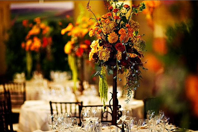 Beautiful fall bouquets centerpieces landmark on the for Autumn flower decoration